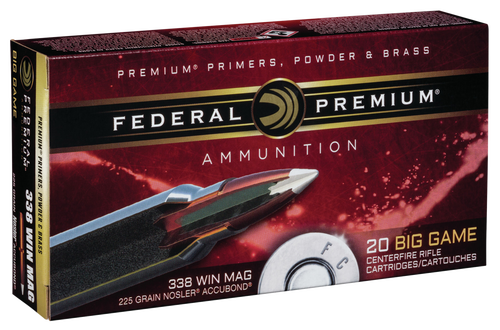 Federal Premium 338 Win Mag 225gr, Nosler AccuBond, 20rd Box