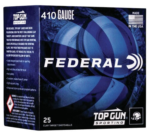 "Federal Top Gun Sporting 410 Ga, 2.75"", 1/2 oz, 8 Shot, 25rd/Box"