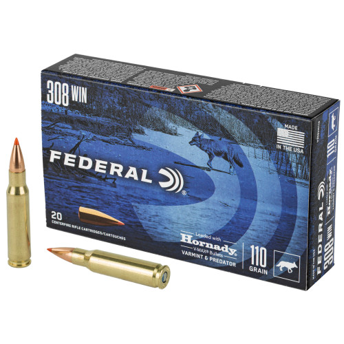 Federal Varmint & Predator 308 Winchester 110gr, Hornady V-Max (VMX) 20rd Box