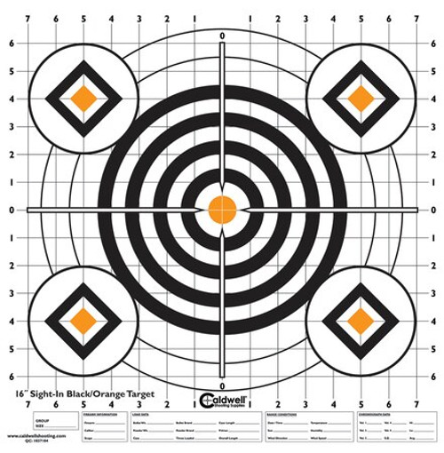 "Battenfeld Technologies Caldwell High-Contrast Sight-In Paper Targets Bullseye/Diamonds Black/Orange 16x16"" 10 Per Package"