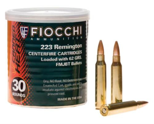 Fiocchi Canned Heat .223 Remington 55gr, Full Metal Jacket Boattail 50 Rounds Per Can