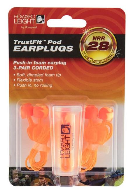 Howard Leight TrustFit Pod Earplugs, Corded, 28 dB, 3pk, Orange/Yellow