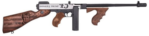 """Auto Ordnance, 1927A-1 Deluxe, Rifle, 45 ACP, 14.5"""" Barrel 16.5"""" OAL, Parkerized Finish, Wood Grips 2 Mags, 1 20Rd Mag And 1 50Rd Drum"""
