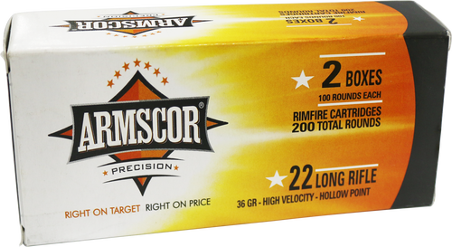 Armscor Rimfire 22LR 36gr, High Velocity Hollow Point, 200rd/Box