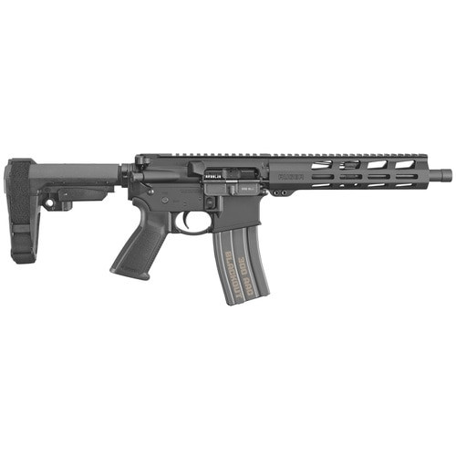 "Ruger AR-556 AR-15 Pistol 300 Blackout 10.5"" Barrel, Threaded, Aluminum Receiver, Black, M-Lok 30Rd Mag"