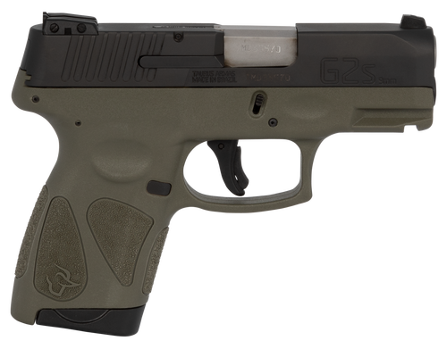 "Taurus, G2S, Sub Compact Pistol, 9mm, 3.25"" Barrel, Polymer Frame, Black/OD Green Finish, Adjustable Sights, 7Rd, 2 Magazines"