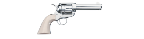 "Uberti 1873 Cattleman Cody, .45 Colt, 4.75"", 6rd, Ivory Grips, Full Nickel-Plated"