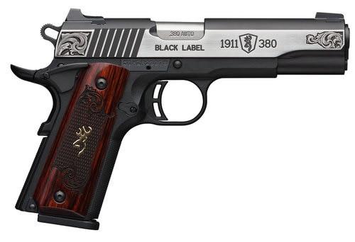 "Browning 1911 Blacklabel, .380 ACP, 3 5/8"", 8rd, Rosewood Grips, Black Frame"