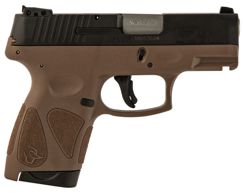 "Taurus G2S. .40 S&W, 3.26"" Barrel, 7rd, Black Slide, Brown"