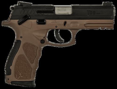 "Taurus TH9 Compact, 9mm, 3.54"" Barrel, 13rd/17rd, Black Slide, Brown"