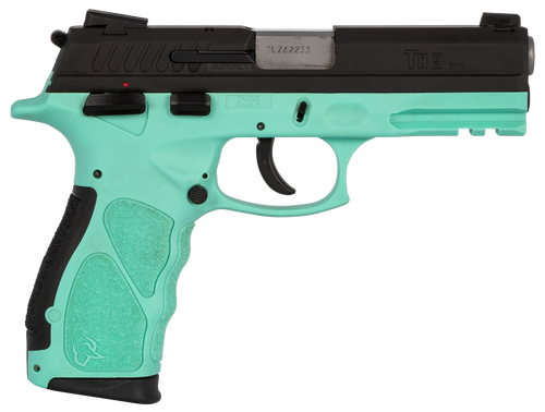 "Taurus TH9, 9mm, 4.25"" Barrel, 17rd, Black Slide, Cyan"