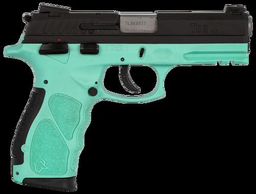 Taurus TH9 Compact, 9mm, 13rd/17rd, Black Slide, Cyan POlymer Frame