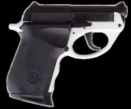 "Taurus PT22, Sub-Compact, 22 LR, 2.8"" Barrel, Polymer Frame, White/Black, 8Rd, 1 Magazine"