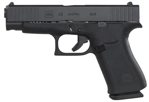 "Glock G48, 9mm, 4.17"" Barrel, 10rd, AmeriGlo Fiber Optic, Black"