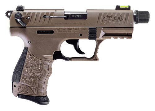 "Walther P22 QD, .22 LR, 3.42"" Barrel, 10rd, Manual Safety, Flat Dark Earth"