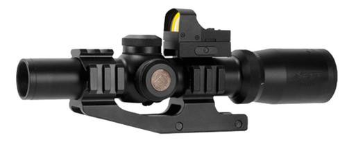 """Aim Sports Tri-Illuminated with Red Dot, 1-4x24mm Obj, 4.2"""" Eye Relief, 3 MOA, Black"""