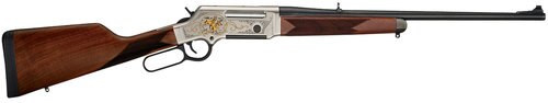 "Henry Long Ranger Wildlife .243 Win, 20"" Barrel, Checkered Straight Grip Stock, Nickel Plated, 24K Gold Inlay, 4rd"