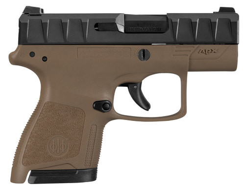 "Beretta APX Carry 9mm, 3.07"" Barrel, Black Slide, Flat Dark Earth, 6rd / 8rd"