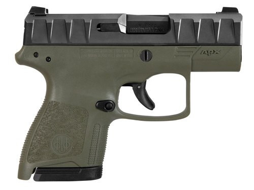 "Beretta APX Carry 9mm, 3.07"" Barrel, Black Slide, OD Green, 6rd / 8rd"