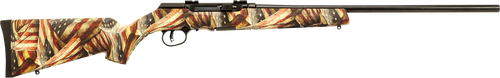 "Savage A17 .17 HMR, 22"" Barrel, American Flag Synthetic Stock, Black, 10rd"