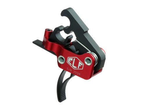 Elftmann Tactical Match Trigger, Curved, Drop-In, 2.75-4lbs, Black/Red