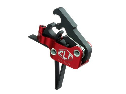 Elftmann Tactical AR-15 Service Trigger, Straight, Drop-In, 4-7lbs, Black Red