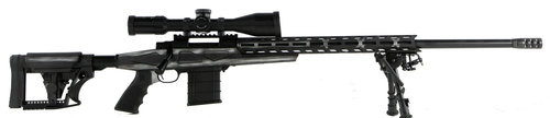 """Howa 1500, Bolt Action Rifle, 308 Winchester, 24"""" Heavy Threaded Barrel, Black, Gray & White American Flag Finish, Polymer Stock, Right Hand, Bipod, 10rd Mag, 4X16-50 Scope Included"""