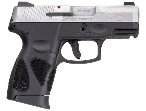 "Taurus G2c .40 S&W, 3.2"" Barrel, Black Polymer Grip, Stainless Steel Slide, 10rd"