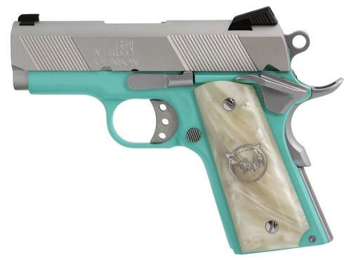 "Iver Johnson 1911 Thrasher Officer 70 Series 9mm, 3.125"" Barrel, White Pearl Grips, Tiffany Blue, 8rd"