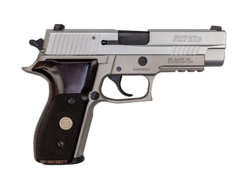 "Sig P227 AS Elite .45 ACP, Used, 4.4"" Barrel, Stainless, SigLite, Wood Grips, 10rd"