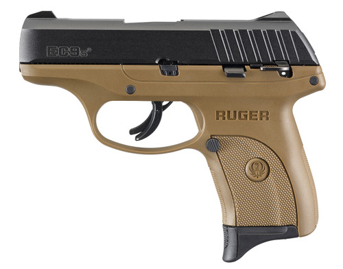 "Ruger EC9s 9mm, 3.12"" Barrel, Fixed Sights, Manual/Trigger Safety, FDE, 7rd"
