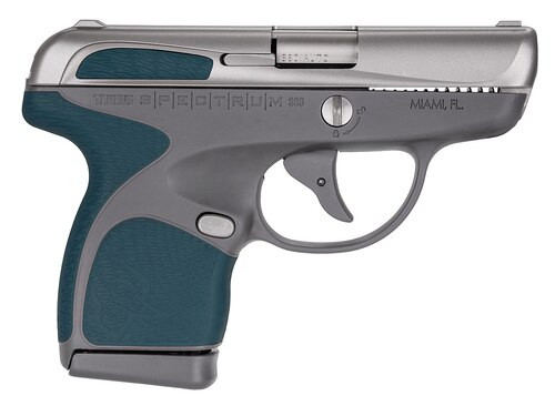 "Taurus Spectrum 380 380ACP, 2.8"" Barrel, SS, Indiglo Blue Overmold, 6rd/7rd Mags"