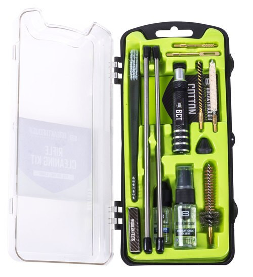 Breakthrough Vision Cleaning Kit, AR15, Includes Cleaning Rod Sections, Hard Bristle Nylon Brushes, Jags, Patch Holders, Cotton Patches, Durable Aluminum Handle And Mini Bottles of Breakthrough Military-Grade Solvent And Bat