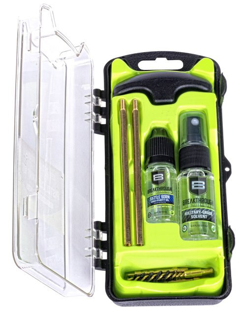 Breakthrough Vision Cleaning Kit, .22 Cal, Includes Cleaning Rod Sections, Hard Bristle Nylon Brushes, Jags, Patch Holders, Cotton Patches, Durable Aluminum Handle And Mini Bottles of Breakthrough Military-Grade Solvent And