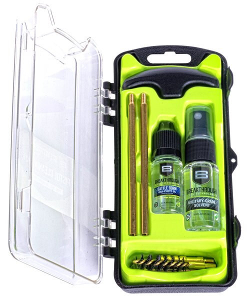 Breakthrough Vision Cleaning Kit, .35 Cal/ .38 Cal/ 9mm, Includes Cleaning Rod Sections, Hard Bristle Nylon Brushes, Jags, Patch Holders, Cotton Patches, Durable Aluminum Handle And Mini Bottles of Breakthrough Military-Grad