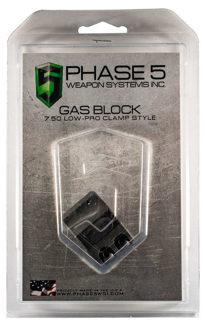 "Phase 5 Weapon Systems Lo Pro Gas Block Lo Pro Gas Block Clamp Style 0.750"" Barrel Black"