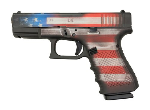 "Glock 19 Gen4 9mm, 4"" Barrel, Battleworn USA Flag, 15rd"