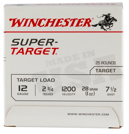 Winchester Super-Target 12 Ga, 7.5 Shot, 1oz, 25rd/Box, 12007