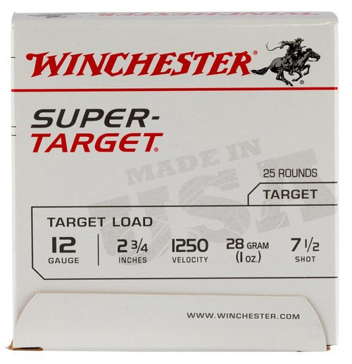 Winchester Super-Target 12 Ga, 7.5 Shot, 1oz, 25rd/Box, 12507