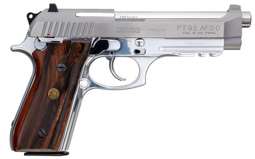 "Taurus PT92 9mm, 5"" Barrel, Stainless, Brazilian Walnut Grips, Adj Rear Sight, 2x17rd"