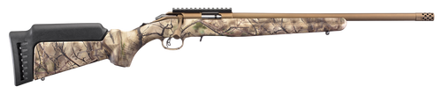 "Ruger American Rimfire Standard 22 LR, 18"" Threaded Barrel, Bronze, Camo, 9rd"