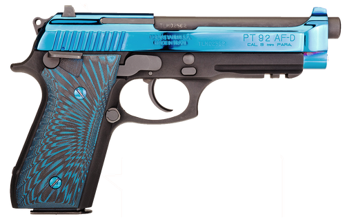 Taurus 92 9mm, Polished PVD Blue Slide, G10 Blue and Black Grips, 17rd