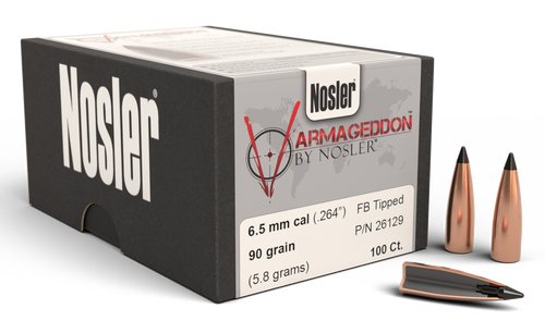 Nosler Varmageddon Reloading Bullets 6.5mm .264 90gr, Hollow Point Flat Base Tipped 100/Box