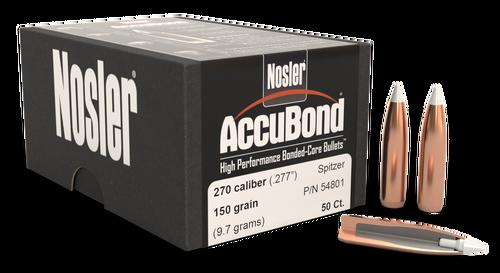 Nosler AccuBond Reloading Bullets 270 Caliber 150gr, Spitzer Boat Tail, 50/Box
