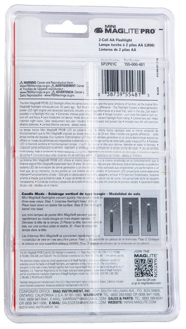 Maglite Mini Maglite Pro Red/Blue/Clear LED 272 Lumens AA (2) Battery Black Combo Pack