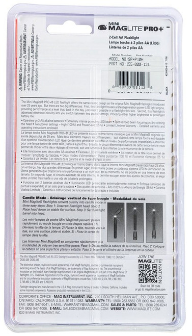 Maglite Mini Maglite Pro+ White LED 245 Lumens AA (2) Battery Silver