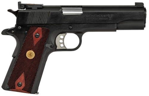 "Colt Gold Cup National Match 1911 38 Super, 5"" Barrel, Steel Frame, Blued, Rosewood Grips, Target Sights, 9rd Mag"