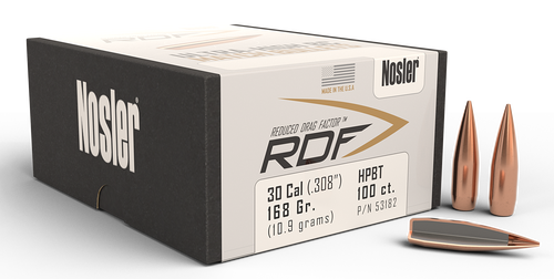 Nosler RDF Match Reloading Bullets 30 Caliber .308 168gr, Hollow Point Boat-Tail, 100/Box