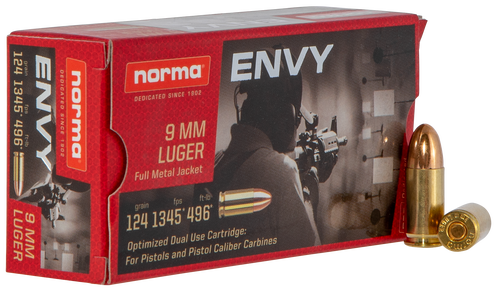 Norma Carbine Envy 9mm 124Gr, Envy, 50rd Box