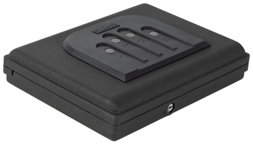 "GunVault MicroVault 550 Mechanical, Illuminated Keypad/Key, 20 Ga Steel, Black 2.5"" x 11""x 8.5"" (Exterior)"